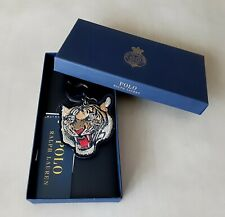 POLO Ralph Lauren TIGER LEATHER KEY FOB with BOX