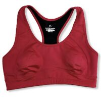 Moving Comfort Womens Sports Bra Pink Black Size Medium (M) Racerback Clasp Back