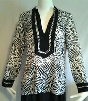 CHICOS  Women's Tunic Shirt Black White Zebra Print Semi Sheer Size 0 S