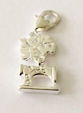 I LOVE TO SEW WITH SEWING MACHINE-CLIP-ON CHARM FOR BRACELETS -NEW -SILVER PLATE