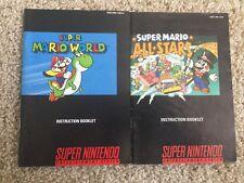 Super Mario World & All Stars Lot Super Nintendo SNES Instruction Manual Only