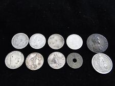 LOTE 7 MONEDAS PLATA 1 FRANCOS 1919 1914 ALBERT 1910- 12 25 GRAMMES 3 DIVERSOS (
