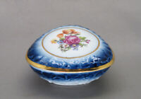 Dresden China Navy Blue and White with Floral Lidded Trinket Box Made in Germany