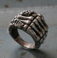 Biker Ring Skull sterling HAND illuminati bone finger PUNK SKELETON STEAMPUNK