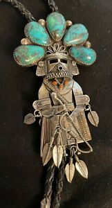 Vintage Navajo Kachina Sterling Silver, Turquoise, Coral& Leather Bolo-Signed BL