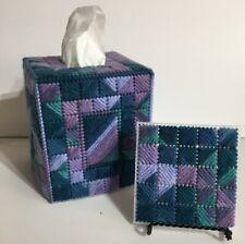 NEW Tissue Box Cover Handmade Needlepoint - BONUS Mug Rug - Made in USA !