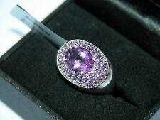 LOT 231 STUNNING MULTI STONE AMETHYST STERLING SILVER RING SIZE R 1/2 -RRP £236