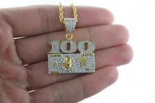 Mens Gold Plated Hip Hop Iced out Cubic Zirconia $100 Pendant with Rope Chain