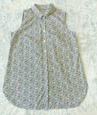 Chicos Sz 1 MEDIUM Animal Print Tunic Black White Button Sleeveless Collared Top
