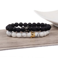 Luxury CZ Crown Couple Her King His Queen Stone Beads Lover Distance Bracelets