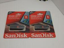 LOT OF 2 SanDisk Cruzer Glide USB 2.0 / 3.0 Flash Drive, 8GB RETRACTABLE SLIDER