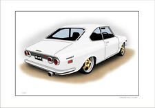 MAZDA RX2 COUPE 12A     LIMITED EDITION CAR DRAWING  PRINT  ( 7 CAR COLOURS)