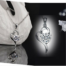 New Fashion Ladys 925 Sterling Silver Heart Crystal Pendant Necklace Jewelry