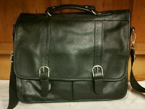 Wilsons Leather Messenger Bag Briefcase Laptop ComputerBag Black Leather 12x15