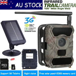 Hunting Trail Camera Farm Security 3G MMS 890WG+32G+Solar Panel Charger AU Stock