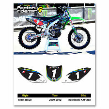 2009-2012 KAWASAKI KXF 250 Team Issue Dirt Bike Graphics Custom Number Plates