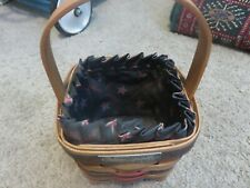 """Longaberger 1993 Inaugural Basket With Fabric Liner Small Fixed Handle 4"""" x 5"""""""