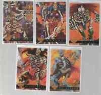 1995 Fleer Ultra Skeleton Warriors Luma Bone Glow In The Dark 5 Card Insert Set