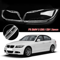 Pair Front Headlight Headlamp Lens Plastic Cover Fit For BMW 3 E90 / E91 Xenon