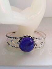 LARGE Purple Lace Onyx & Silver Bracelet Adjustable 60mm Gemstone Jewellery