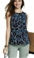 LKnew! Small CAbi #3087 Sleeveless Floral Warhol Tunic Top Blouse Teal Navy Blue