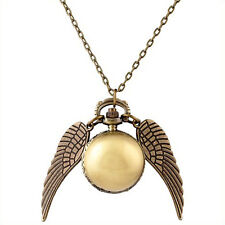 Harry Potter Snitch Pocket Watch Pendant Necklace Steampunk Quidditch Wing OK