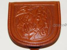 MEXICAN LEATHER HAND-TOOLED TAN COIN PURSE WALLET