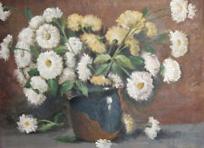 Antique oil painting still life with flowers