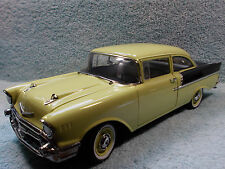 1/18 SCALE DIECAST 1957 CHEVY 150 UTILITY SEDAN IN YELLOWBLACK BY HIGHWAY 61.