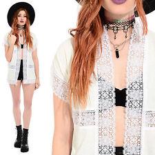 Vintage 70s TERRY CLOTH Sheer Crochet Kimono Jacket Beach Swimsuit Coverup Boho
