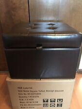 Tufted Black Leather Square Flip Top Storage Ottoman Cube Foot Rest W/Storage