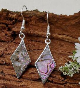 Abalone Shell Earrings Diamond Design Hoop Artisan Made Bohemian Dangles Taxco