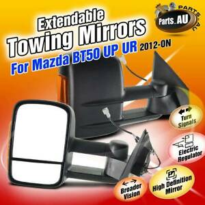 Black Extendable Towing Mirrors w/ Indicators for Mazda BT-50 2012-2019