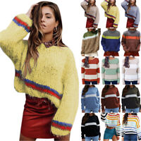 Womens Sweater Knitted Long Sleeve Pullover Ladies Winter Casual Jumper Tops