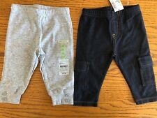 2 pairs Cotton Pants Lot 3 3-6 month Boy Girl NWT Carter's Place Gender Neutral