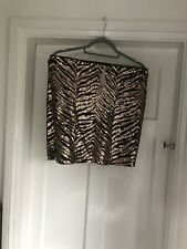 George Rose Gold Sequin And Black Zebra Pull On Above Knee Skirt 12 NEW With Tag