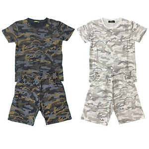 Boys Kids T-Shirt Shorts Set Camo Camouflage Army Fashion Summer Top Short Set
