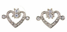 Swarovski Elements Crystal Heart Pierced Earrings Rhodium Plated New 7109x