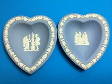 "(2) ""Wedgwood"" Blue - Jasperware Heart Small Shaped Candy Dishes"