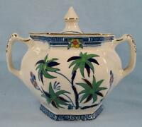 Kenya Blue Sugar Bowl & Lid Wood & Sons Woods Ware Hand Painted Palm Trees (O4)