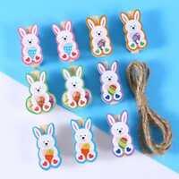 10 pièces - Lapins de Pâques en bois avec pince pour décoration de table