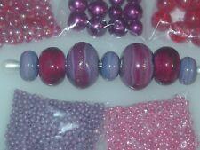 Red Pink Purple Goldstone Handmade Lampwork Glass Crystal Seed Bead Lot 4007