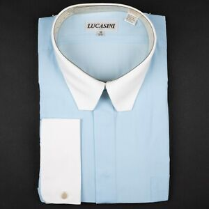 Pale Blue w/ White French Cuffs Fly Front Men's Dress Shirt by Lucasini