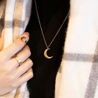 18K GOLD CRESCENT MOON PENDANT NECKLACE - Brand New with Tags