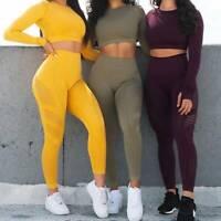 Women's Seamless Sports Suit Yoga Tops & Pants Set Fitness Leggings Gym Stretch