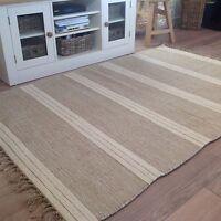 ❤️Beige & Thick Triple Stripe Cotton & Jute Rug Fringed 90cm x 150cm Flat Weave