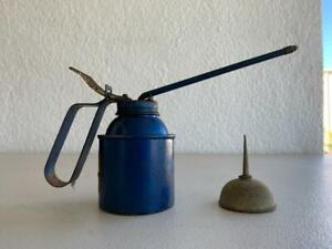 2 VINTAGE OILER OIL CAN 1 IS A SMALL THUMB PUMP DISPENSER WORKSHOP MANSCAVE