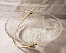 Vintage Fruit Basket Bowl  Crystal Glass Bamboo Handle Flower Rose Embossed