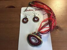 1 Oval Red Crystal & Enamel Necklace/Ribbon & Cord & Bronze Earring Set
