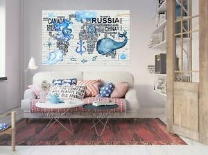 3D Blue Whale KEP216 World Map Character Wall Mural Decal Stickers Poster Kay